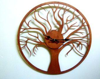 """Orologi da parete in legno in vendita, parete orologio 15,7 """"diametro, orologi da parete di grandi dimensioni, parete di legno orologio, orologio da parete moderna, arte della parete, orologi da parete in legno"""