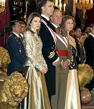 Members of the Spanish Royal family are seen during an Epiphany ceremony at the Royal Palace in Madrid recently. Seen from left to right are Princess Letizia, Crown Prince Felipe, King Juan Carlos and Queen Sofia.