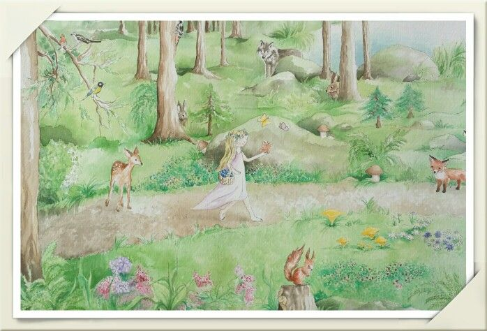 Aquarelle painting / Swedish forest