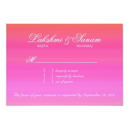 Indian Wedding RSVP Indian RSVP Wedding Reply Card Damask Pink Orange