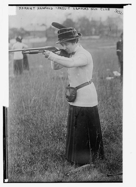 Harriet Hammond - Pres. Nemours Gun Club (LOC) by The Library of Congress, via Flickr In 1913 she organized the first trap shooting club for women in the country.