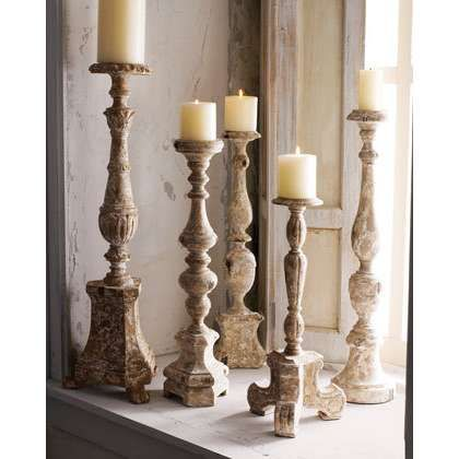 Image detail for -Antiqued Wooden Candlesticks | ThisNext