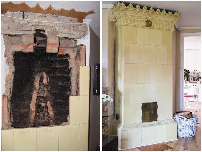 Renovering av en gammal kakelugn i Vaggeryd. Där hjälpte vi ägarna med renovering av en kakelugn i ett vardagsrum. Nu värmer kakelugnen huset mycket bra.