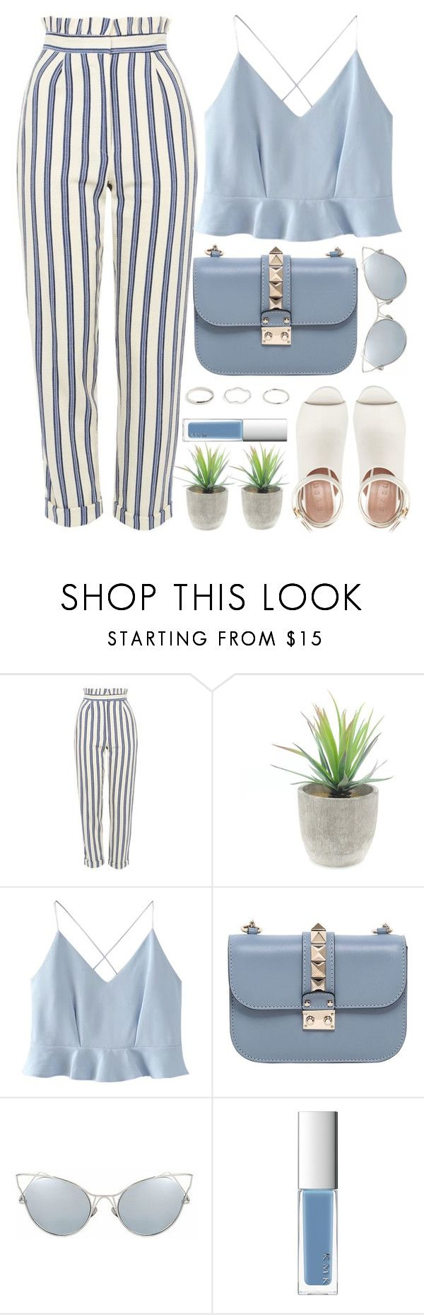 """Braga"" by monmondefou ❤ liked on Polyvore featuring Topshop, WithChic, Valentino, RMK, Marni, white and Blue"