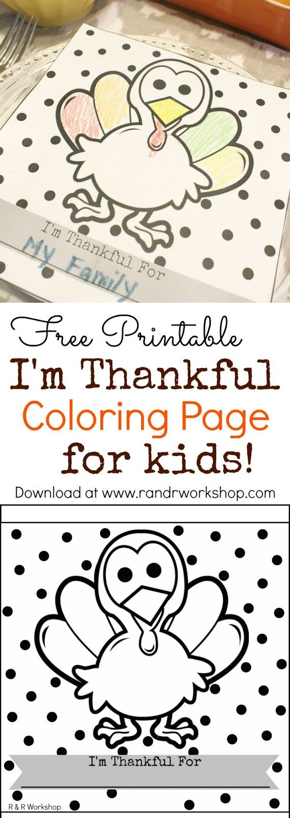 I'm Thankful Coloring Page for Kids (Free Printable). Entertain the kids while Thanksgiving Dinner is being prepared or during dinner!
