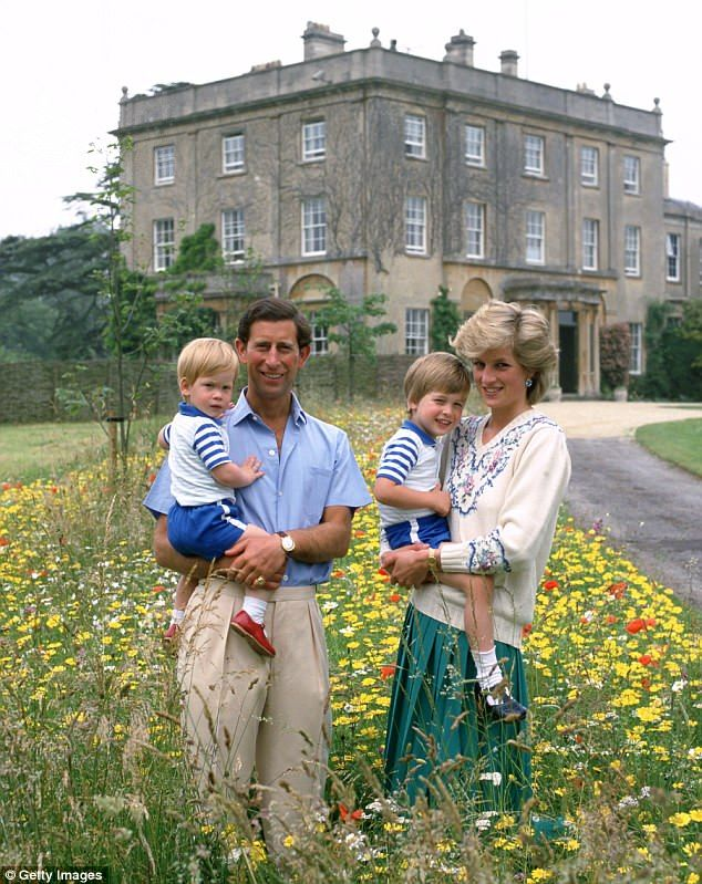 Prince Charles and Diana pose with their sons Prince William and Prince Harry in the wild ...