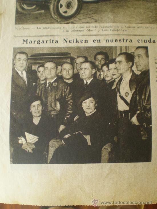 Spain - 1936. - GC - LA VANGUARDIA (16/10/36) - ARAGON ZIRIANIN AMBULANCIA MARGARITA NELKEN BARCAZTEGUI