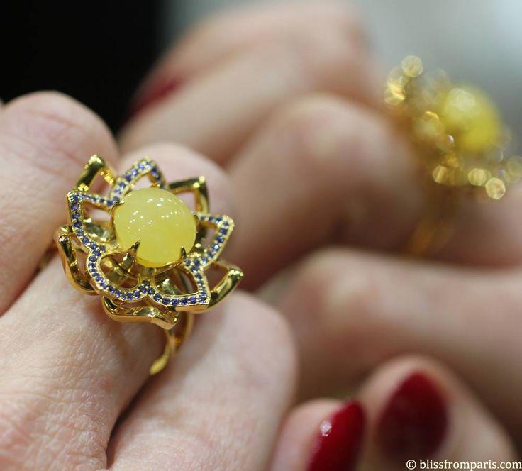 Bague Lotus NAC Amber photo blissfromparis