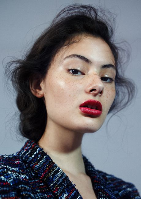 make your freckles pop with a glossy red lip!