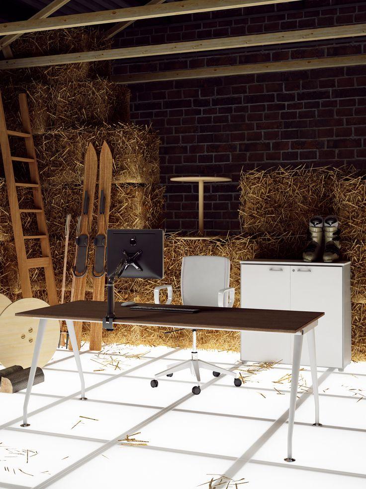 Desk with metallic legs and top finish Cherry behind low cupboard with blind doors  //  ---  //  Scrivania con gambe in metallo e piano finitura ciliegio dietro mobile contenitore con antine cieche