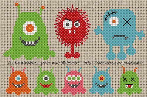 Envie de m'amuser avec les couleurs et de créer des petits monstres pour nos petits monstres. Rapides à broder, facile à adapter, modifiez les couleurs en fonction des bouts de fil qui vous restent, changez les expressions (faites-leur des gros yeux avec...