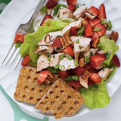 Strawberry Chicken Salad | This easy salad full of fresh strawberries, crisp lettuce, and toasted pecans is the epitome of spring. | SouthernLiving.com