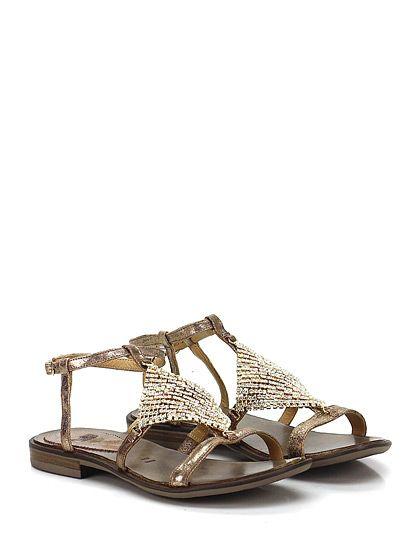 FRUIT - Sandalo basso - Donna - Sandalo basso in pelle effetto vintage con maglia metallica con strass frontale e cinturino alla caviglia. Suola in gomma, tacco 15. - BRONZO