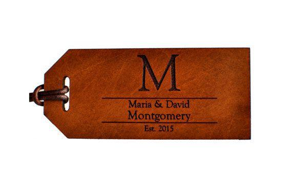3er aniversario regalo, etiqueta del equipaje del monograma, cuero equipaje etiqueta, etiqueta de equipaje personalizada, Monograma personalizado regalo de aniversario, grabado etiqueta