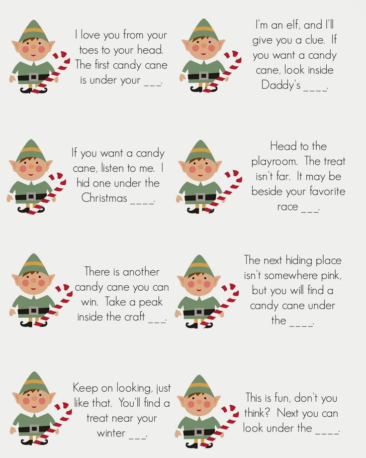 East Coast Mommy: Elf on the Shelf - Candy Cane Scavenger Hunt {free printable clues}
