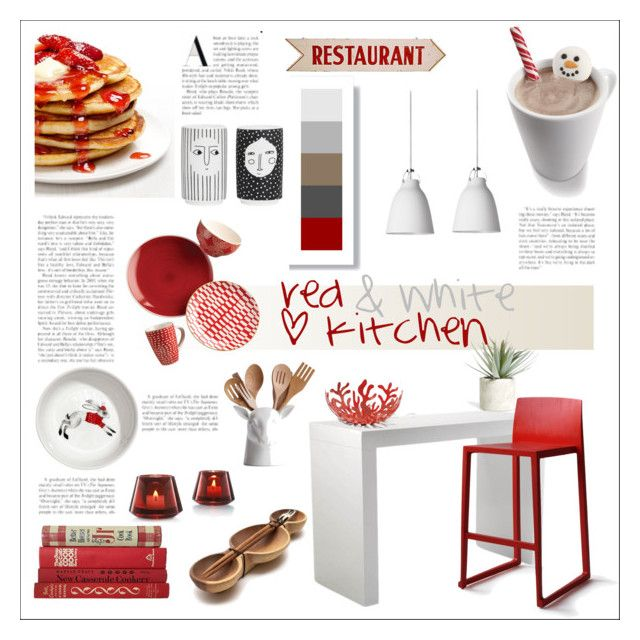 red and white kitchen by levai-magdolna on Polyvore featuring interior, interiors, interior design, home, home decor, interior decorating, Sunpan, Osidea, Lightyears and Alessi