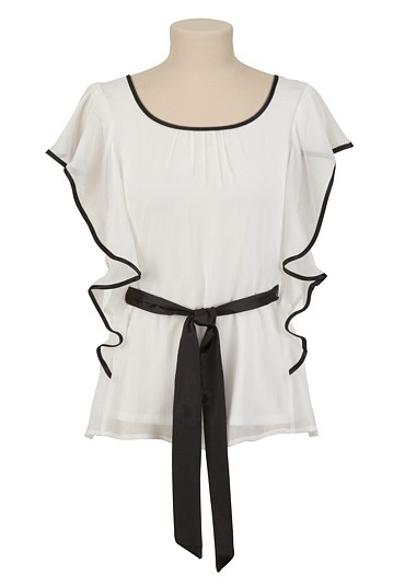 Butterfly Sleeve Chiffon Top with Contrast Tipping $26.00
