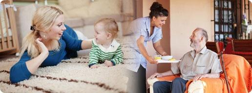 Servicio de cuidado de niños, personas mayores, limpieza a domicilio