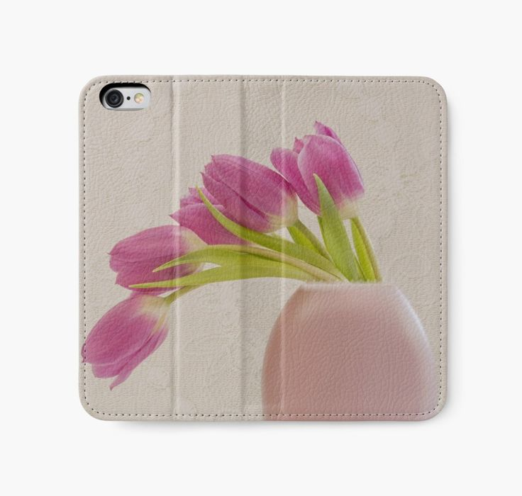 iPhone Wallet.  #tulips #pink tulips #tulip art #tulip still life #sandra foster   https://www.redbubble.com/people/sandrafoster/works/11875938-tulips-and-lace?p=iphone-wallet
