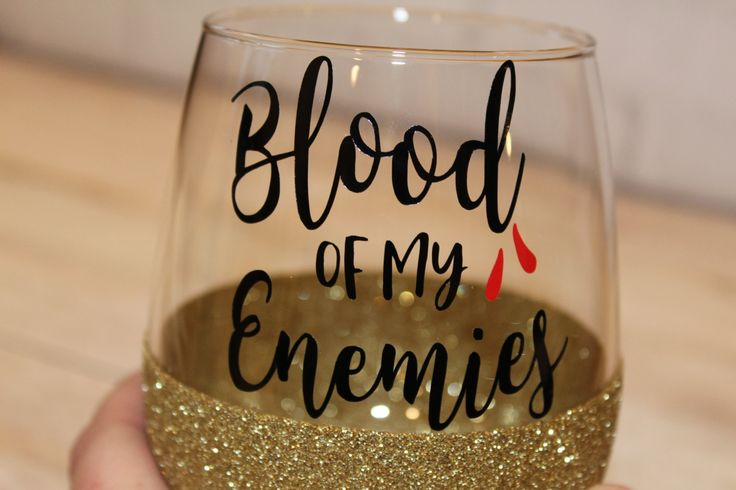 Blood of my Enemies - Funny Wine Glass - Snarky Wine Glass - Red Wine Glass - Glitter Wine Glass - Funny Birthday Gift - Wine Lover Gift by TheJargonBar on Etsy