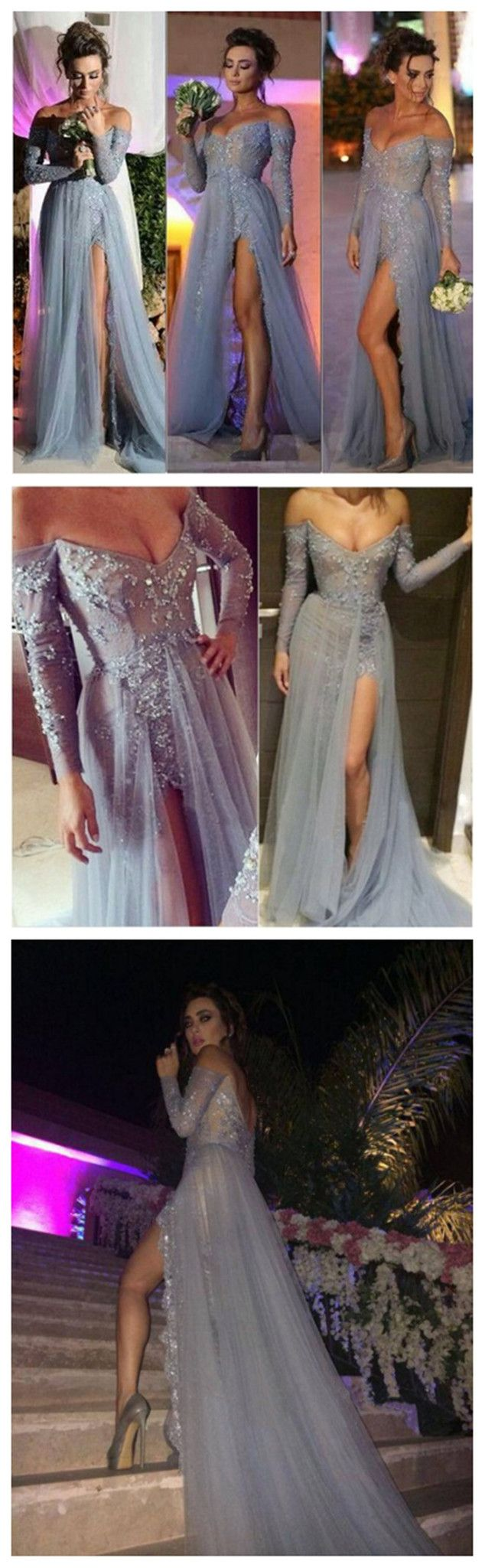 Long Gray Lace Off Shoulder V-neck Side Slit Sexy Popular Prom Dresses ,Evening Occasion Dresses, PD0021 The dress is fully lined, 4 bones in the bodice, chest pad in the bust, lace up back or zipper