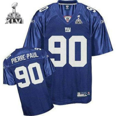 New York Giants 90 Jason Pierre Paul Blue 2012 Super Bowl Jersey 7e954de9d