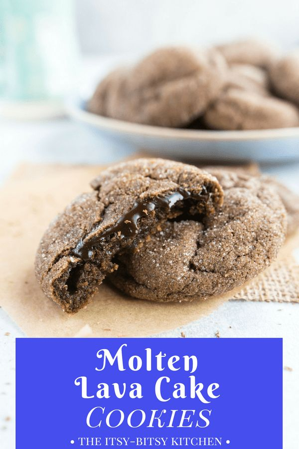 Molten lava cake cookies are a simple fudge-filled cookie sure to make any chocolate lover happy! if you love easy chocolate cookies then you need this recipe! recipe from Cookie Remix #lavacake #chocolate #cookies