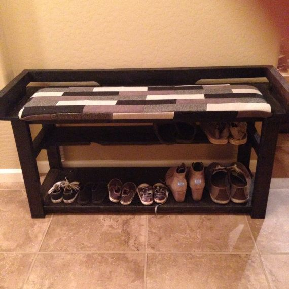 repurposed pallet shoes rack and bench