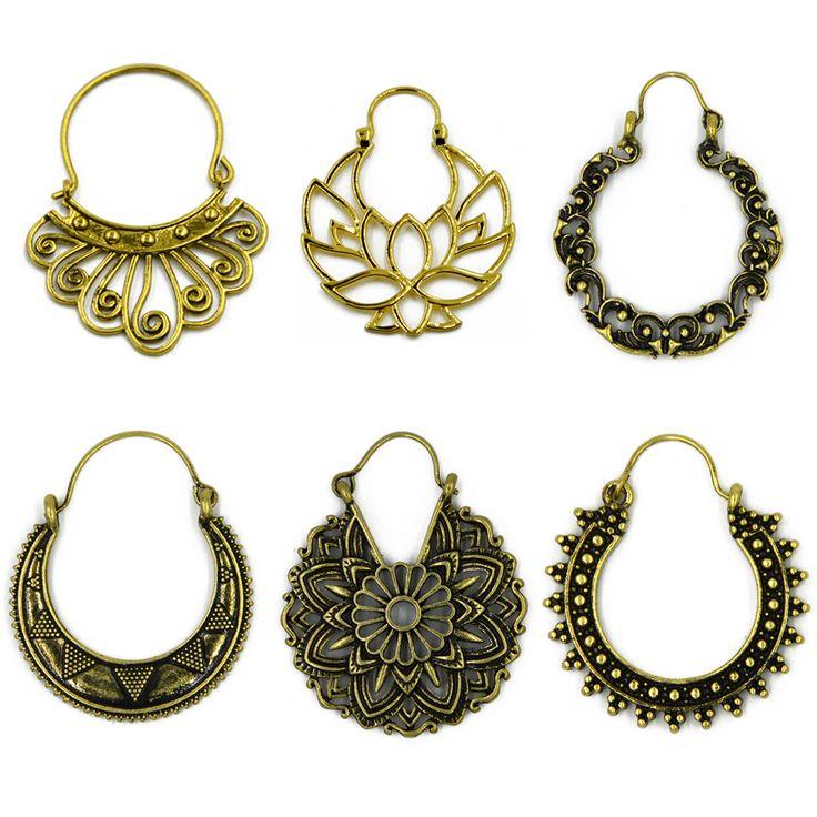 Brass Gold Tone Ornate Swirl Hoop Gypsy Indian Tribal Ethnic Earrings Boho Body Jewelry -in Drop Earrings from Jewelry & Accessories on Aliexpress.com | Alibaba Group