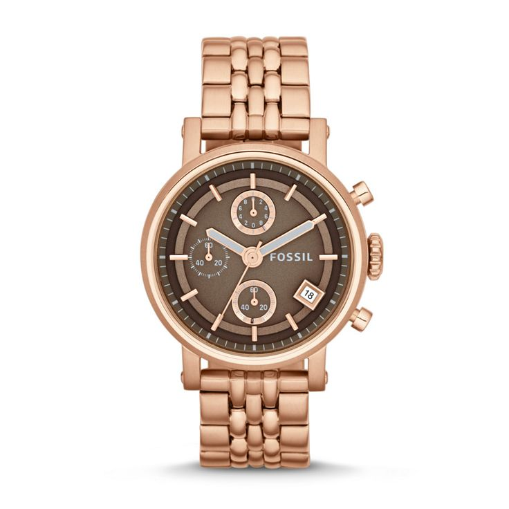 #Fossil adds a feminine rose gold twist to a tomboy style. | Fossil Original Boyfriend Chronograph Rose-Tone Stainless Steel Watch. @fossil on #Outlet77 #fashion