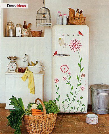 Great idea to dress up the typical boring white fridge! >> Adorable!