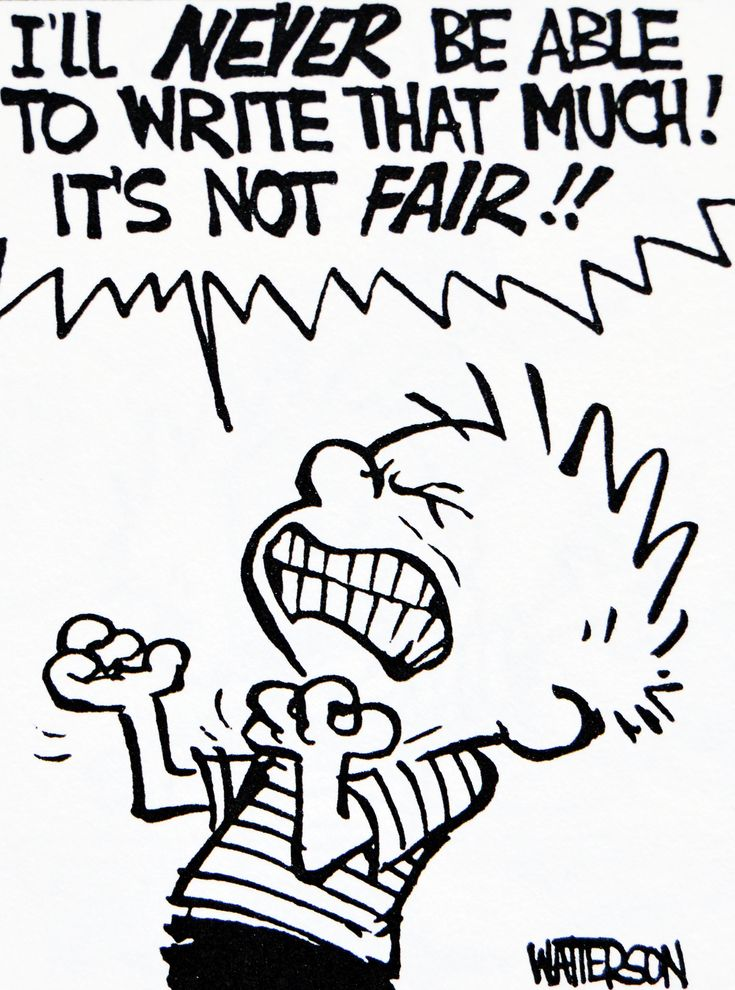 Calvin and Hobbes, DE's CLASSIC PICK of the day (9-15-14) - I'll NEVER BE ABLE TO WRITE THAT MUCH! IT'S NOT FAIR!!  (seems a reasonable reaction when asked to write one paragraph about his summer vacation)