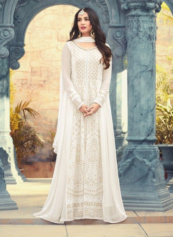 b4e97e23d1197 White Princess With Gold Detailed Chikankari Work Flared Slit Style  Anarkali Suit - Salwar Kameez. Ethnic wear for women ...