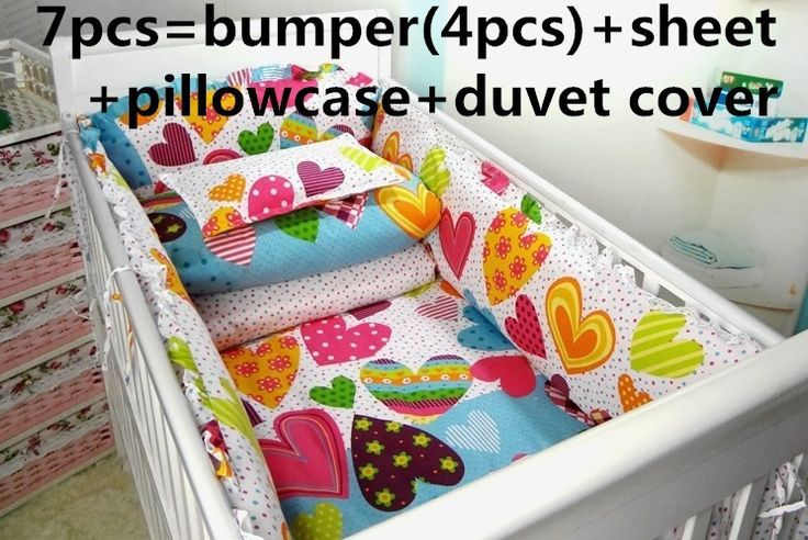 Promotion! 6/7PCS Baby Crib Bedding Sets For Kids 100% Cotton Baby Quilt White Child Duvet Cover,120*60/120*70cm