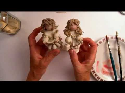 come fare un angelo in piedi in pasta mais/ceramica fredda 3 parte - standing angel 3 part - YouTube