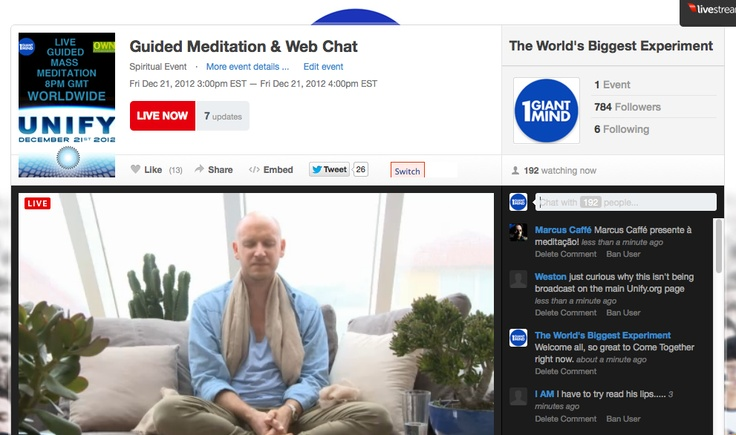 LIVE NOW GLOBAL MEDITATION EVENT JOIN US!