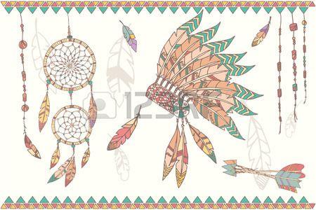 Dessin s la main natif am ricain dream catcher chef indien plumes coiffe les perles et les fl ches i Banque d'images