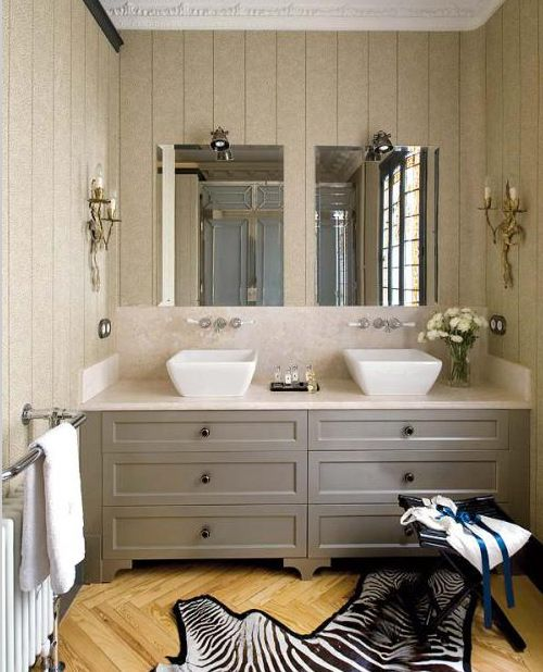 traditional bathroom featured in world of interiors gray bathroom