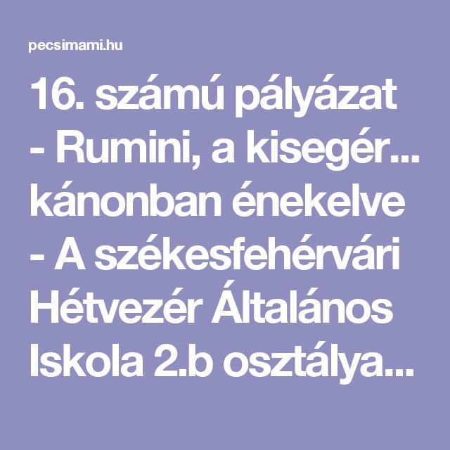 16. számú pályázat - Rumini, a kisegér... kánonban énekelve - A székesfehérvári Hétvezér Általános Iskola 2.b osztálya (Fehérvárimami)   Pécsimami