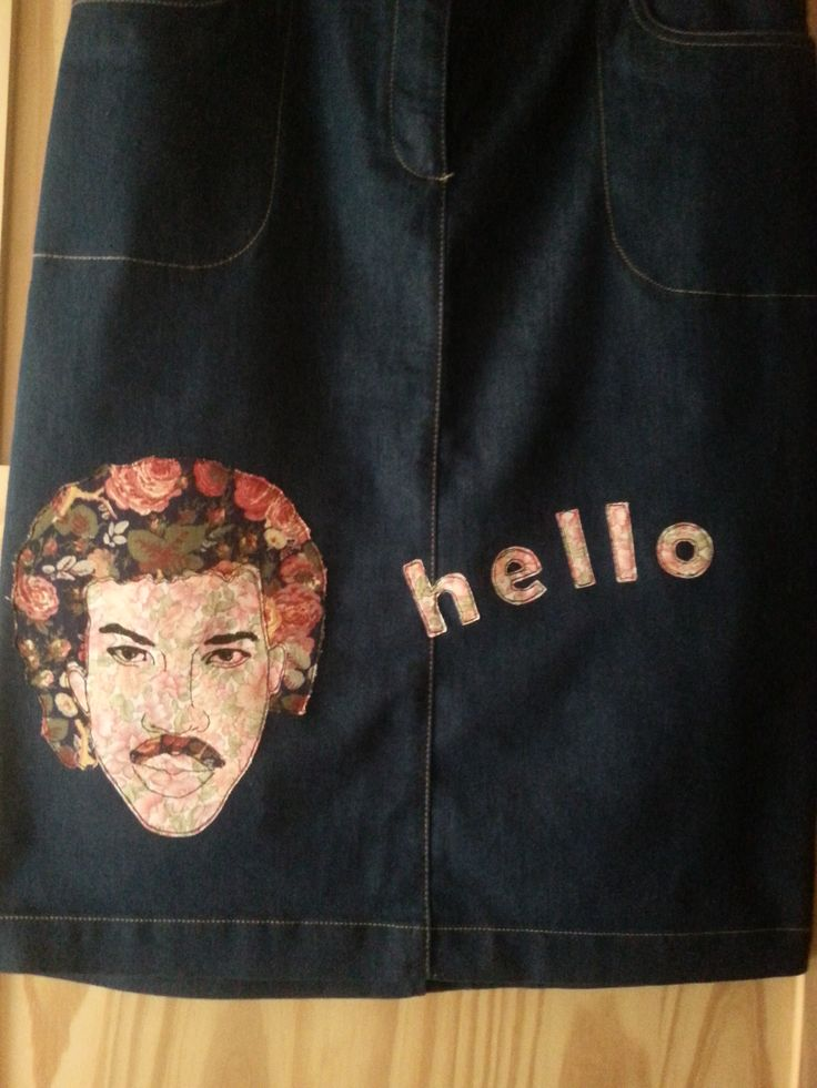 Upcycled skirt - Lionel Richie  Applique design with free machine embroidery.  Sewing, fashion, clothing, quirky, Glastonbury, soul legend, Motown.