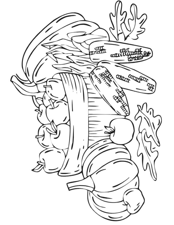 Fall Harvest Coloring Pages | ... do not appear when printed. Only the fall coloring page will print