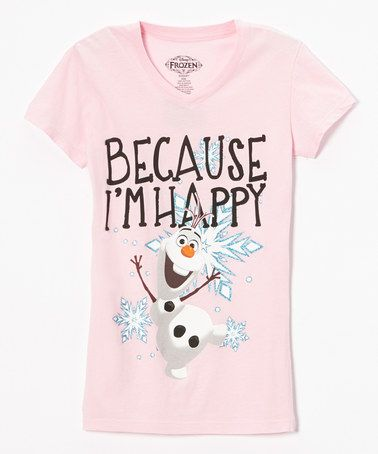 Look at this #zulilyfind! Icy Pink Olaf 'Because I'm Happy' Fitted Tee - Girls #zulilyfinds
