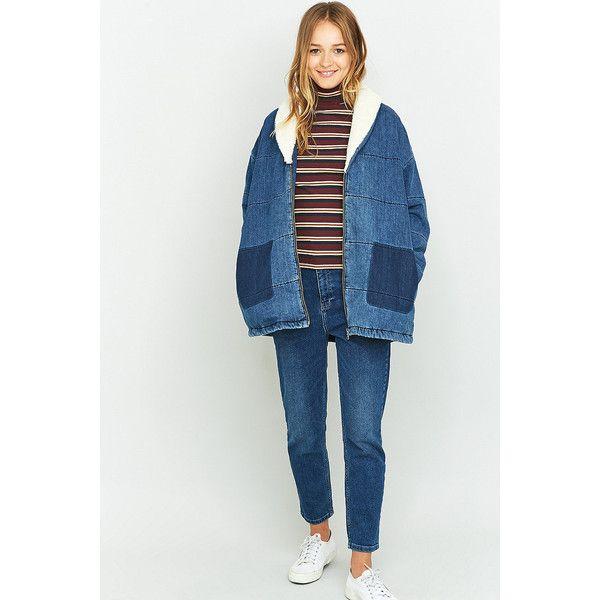 BDG Borg Collar Oversized Denim Jacket (£109) ❤ liked on Polyvore featuring outerwear, jackets, indigo, retro denim jacket, oversized jean jacket, fleece-lined jackets, retro jackets and long sleeve jacket