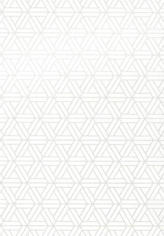 Medina Wallpaper A geometric wallpaper with an interlocking triangular pattern printed in white.