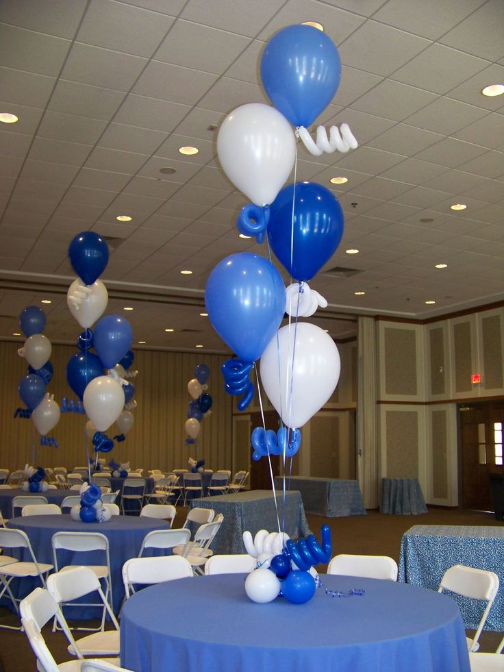 Balloon centerpieces in shades of blue using large
