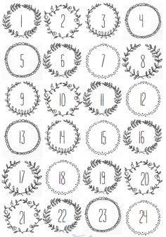 Numéros du calendrier de l'avent à imprimer