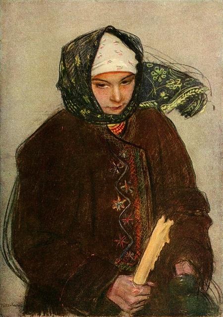 Teodor Axentowicz (Polish-Armenian painter, 1859–1938) Girl with Scarf