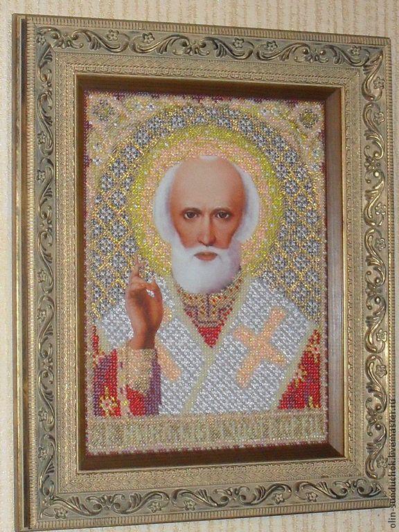 Икона Николай Чудотворец бисером. - золотой,икона в подарок,икона вышитая бисером