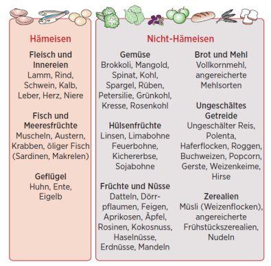 Eisenhaltige Lebensmittel - Übersicht Hämeisen & Nicht-Hämeisen