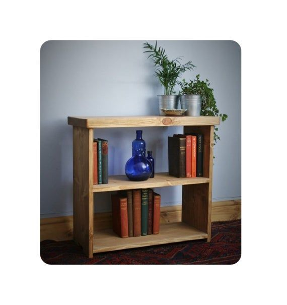 Low Wooden Bookshelf Small Bookcase Shelves 65w X 60h X 29d Cm In Sustainable Natural Light Wood R In 2020 Small Bookcase Bookshelves Rustic Bookcase